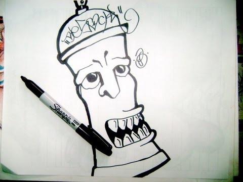 Te enseño a dibujar un aerosol en graffiti (Caracter) - YouTube