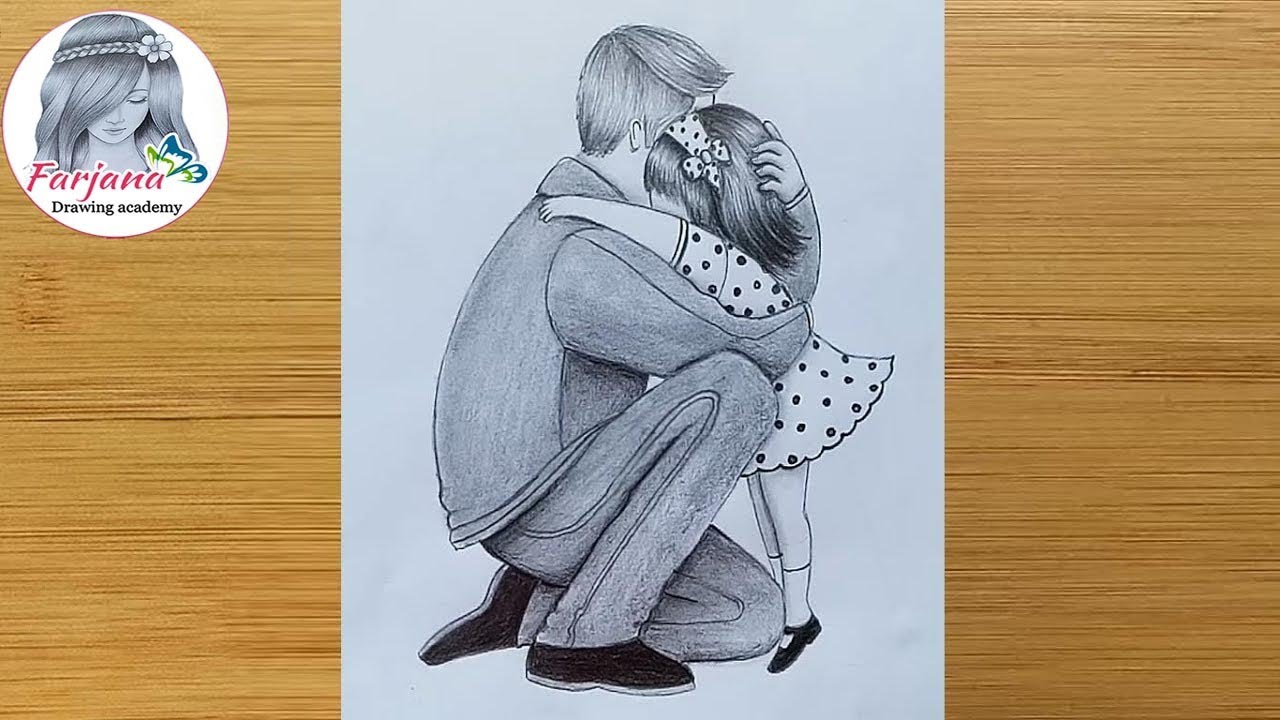 Father Daughter Heart Touching Drawing How To Draw Father And Daughter Step By Step Youtube