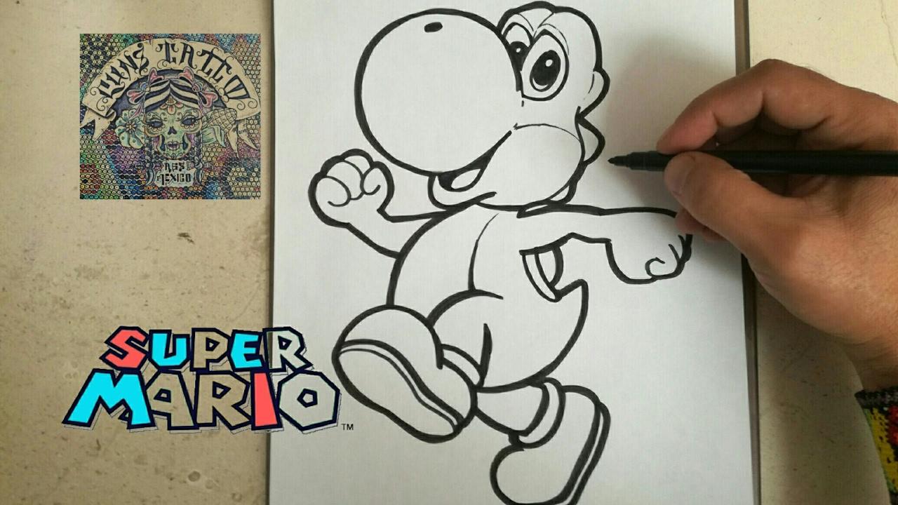 Dibujos Para Colorear De Yoshi: MARIO BROS / How To Draw Yoshy