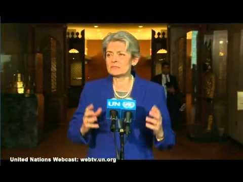 Irina Bokova Media Stakeout