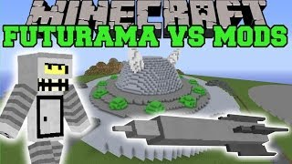 DEADLY BACTERIA MOD VS FUTURAMA - Minecraft Mods Vs Maps (Block Eating & Missles)