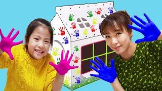 색칠할수 있는 집을 만들어볼까요?!! 서은이의 종이집 만들기 색칠하기 핸드 프린팅 색깔놀이 Seoeu's Making Paper House and Hand Painting