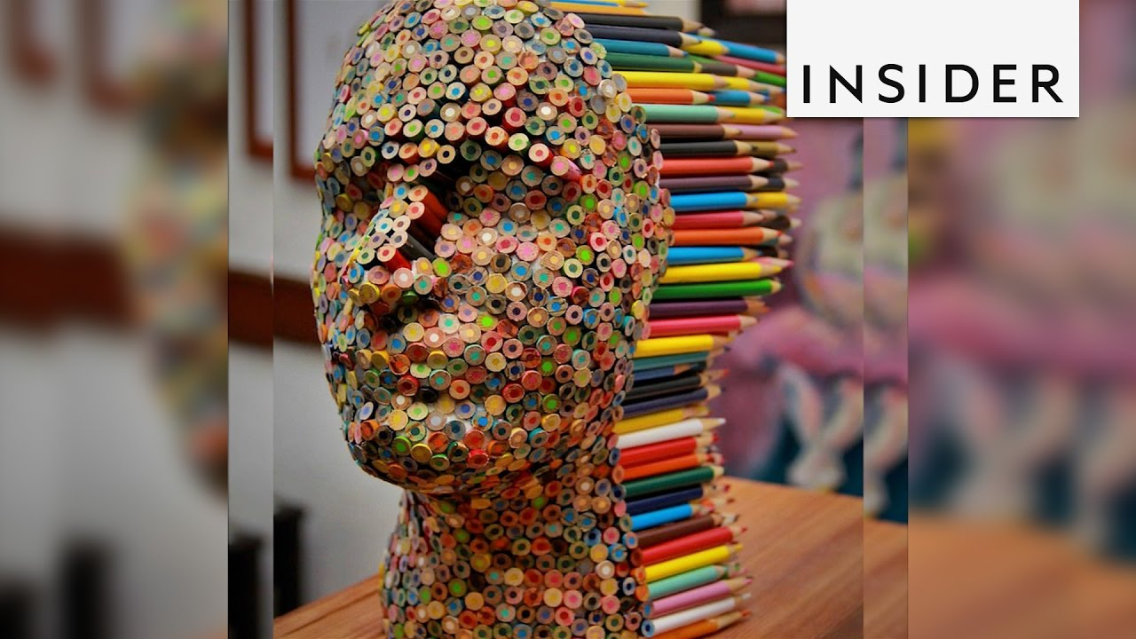 An Artist Created A Sculpture Made Of Glue And 500 Colored Pencils Youtube