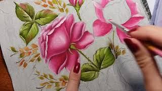 Rosa virada botão (rosa escuro) – Vídeo 2 – Pintura em tecido
