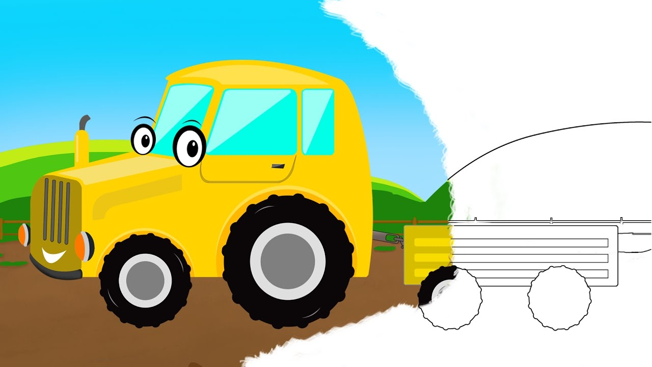 coloring book tractor trailer farm vehicle learning video