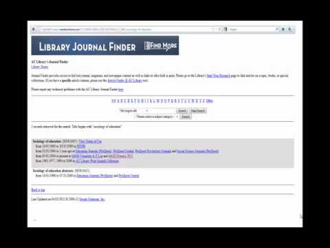 Finding a Non-Legal Journal Using the AU Library