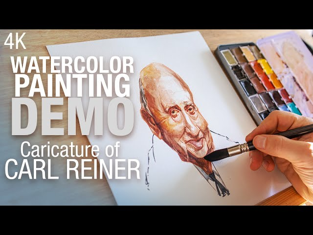 I've painted the caricature of Carl Reiner in Watercolor 4K