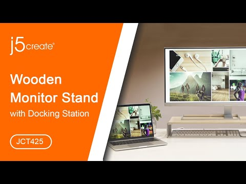 j5create®  Wood Monitor Stand with Docking Station JCT425