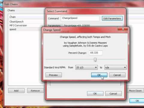 speed up mp3 audio in batch with audacity