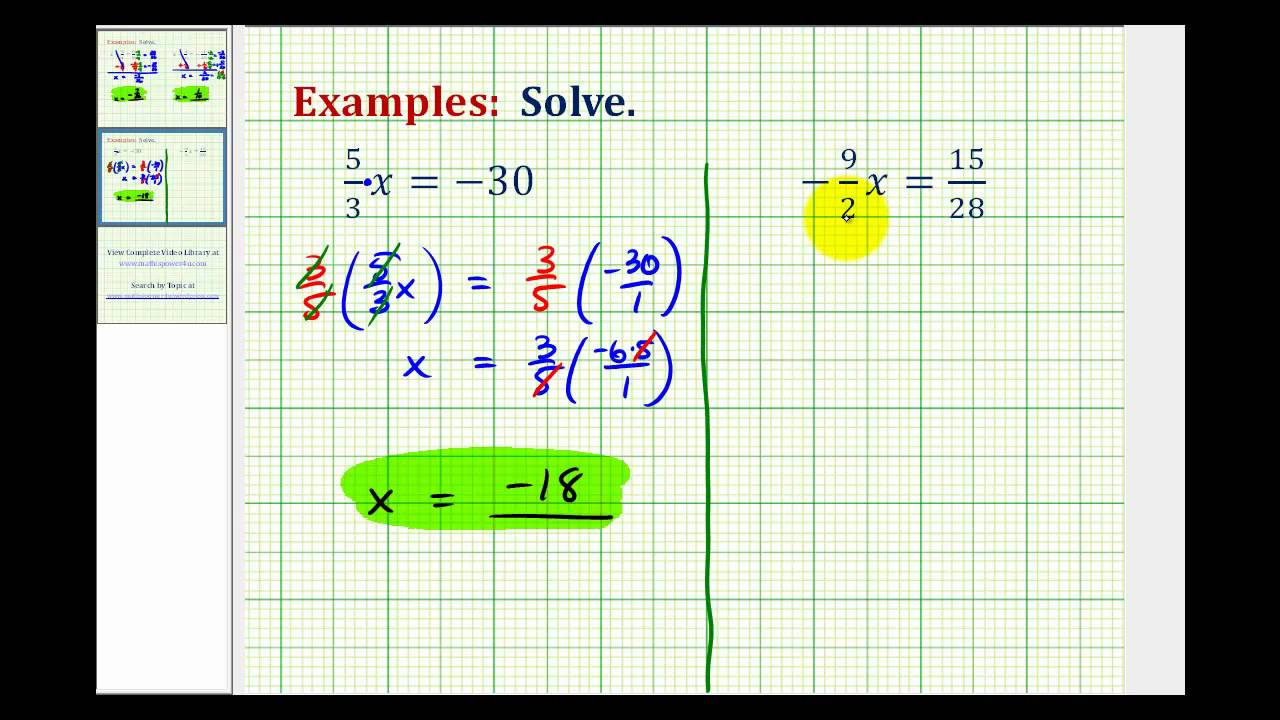 hight resolution of Solving One Step Equations - Fractions (examples