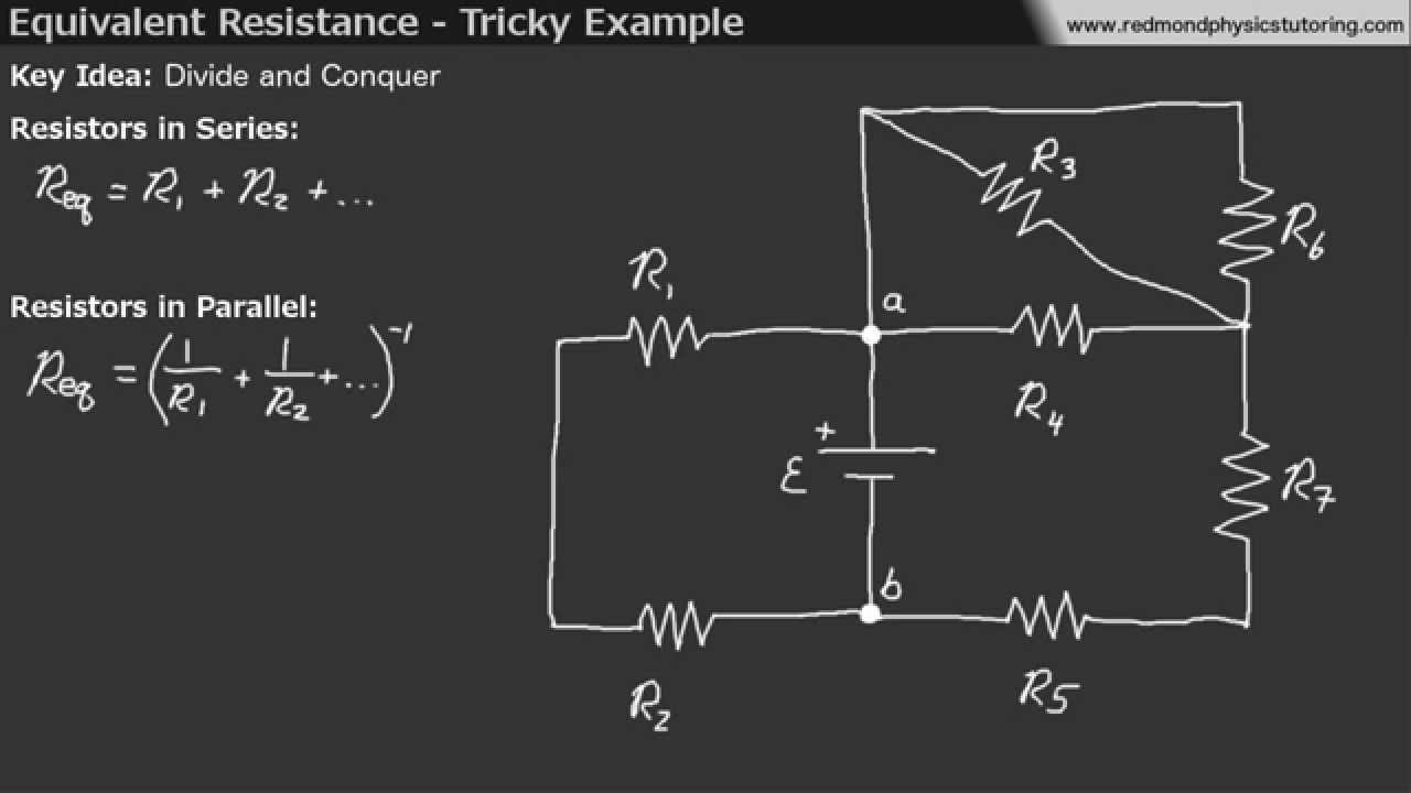 equivalent resistance tricky example youtube rh youtube com Parallel Circuit Diagram Parallel Circuit Calculator