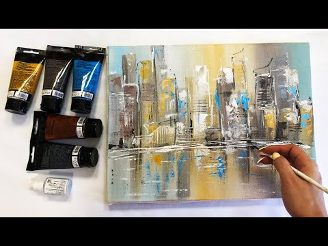 Abstract Cityscape Painting Demonstration Acrylic Easy Techniques