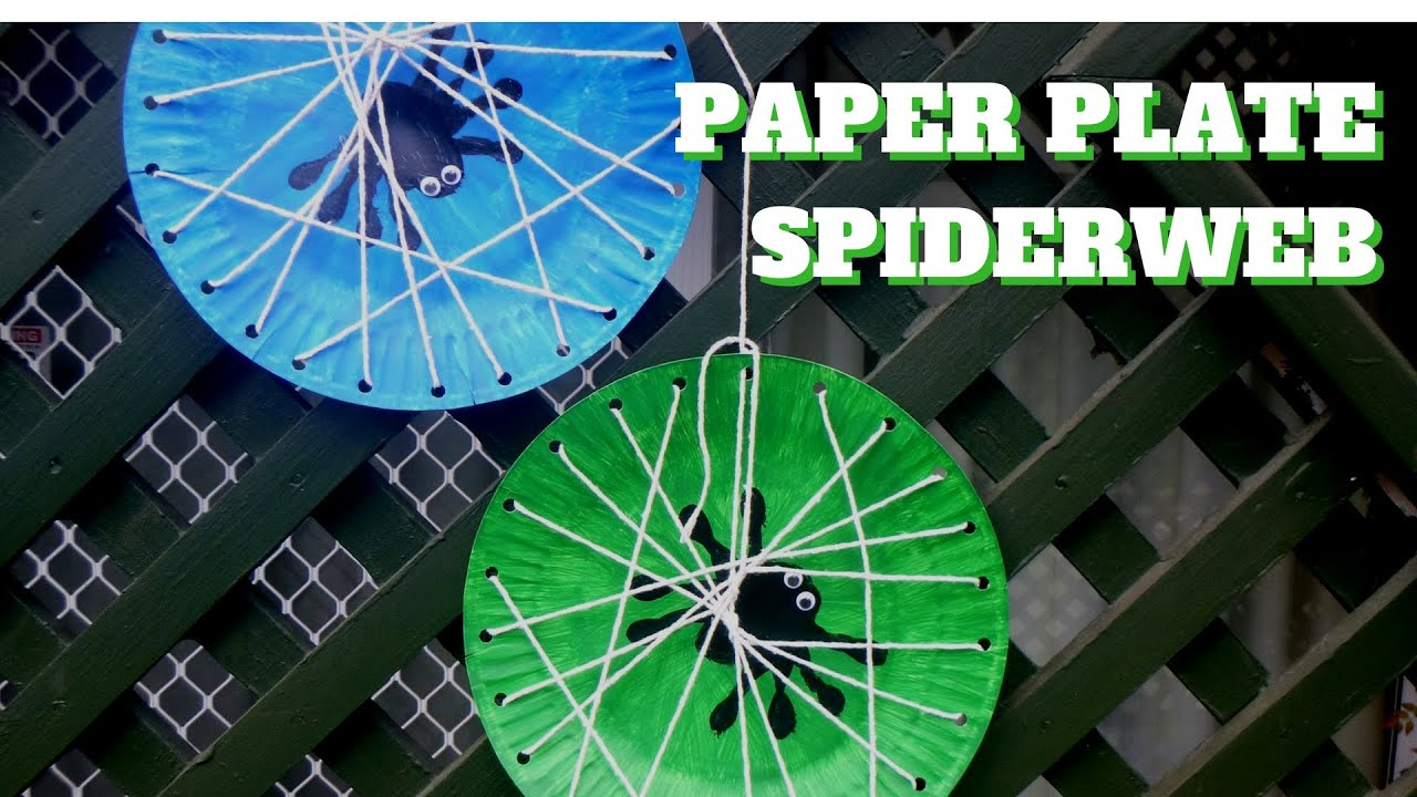 & Halloween Craft - Paper Plate Spiderweb - Paper Plate Crafts - YouTube