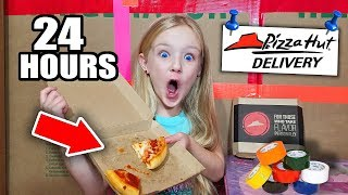 24 HOUR BOX FORT KIDS SURVIVAL CHALLENGE! PIZZA HUT DELIVERS!!!