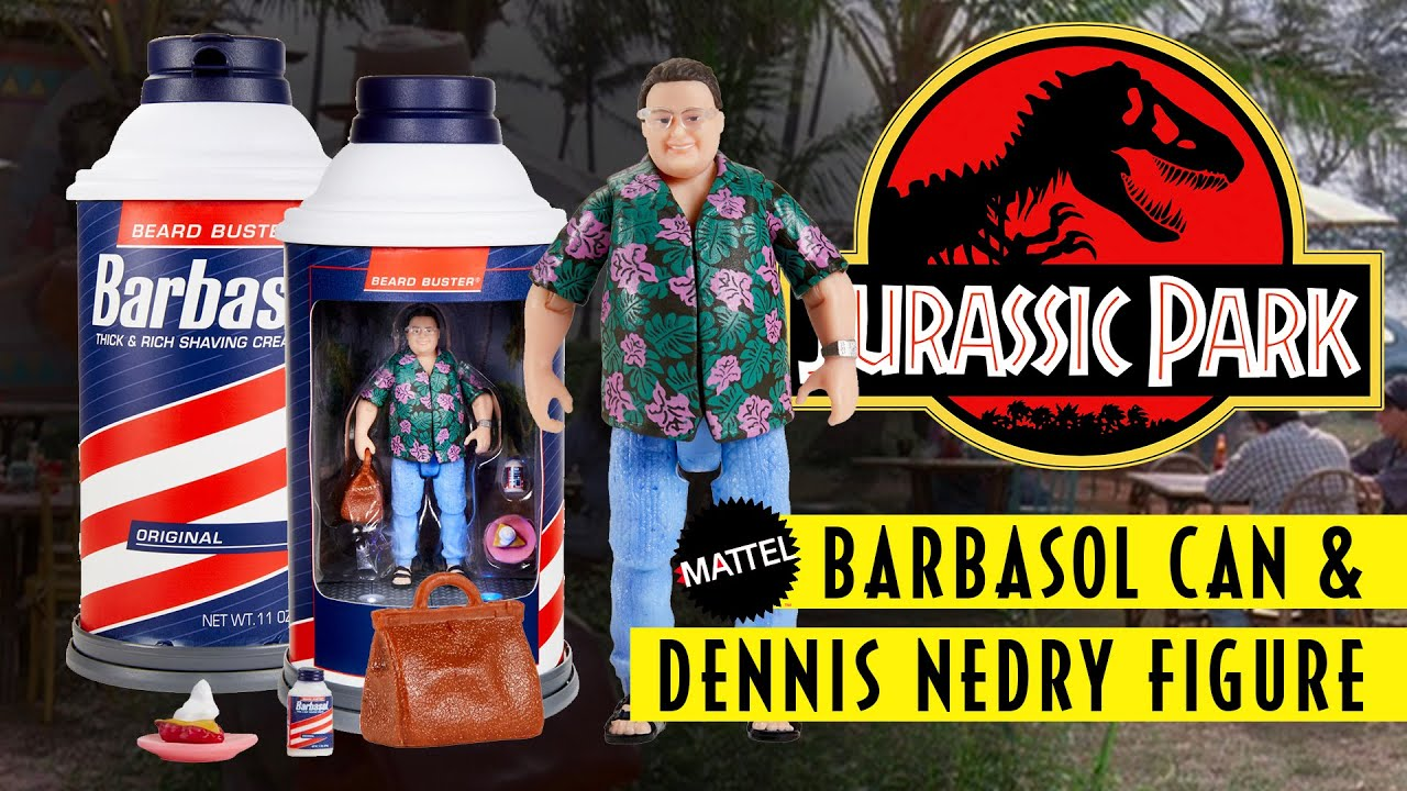 SDCC Exclusive Barbasol Can & Dennis Nedry Jurassic Park Action Figure Set / collectjurassic.com