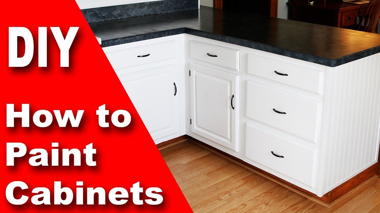 How to paint kitchen cabinets white diy youtube for Spraying kitchen cabinets white