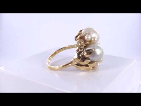 14k Beautiful Stunning Baroque Ming's Pearl Vintage Estate Ring
