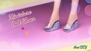 DIY Miniature Doll Shoes / Cách làm đôi dép đế xuồng cho búp bê / Ami DIY