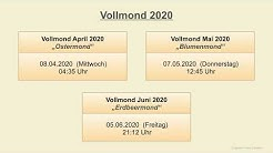 Vollmond 2020 - Alle Termine - Mondkalender 2020