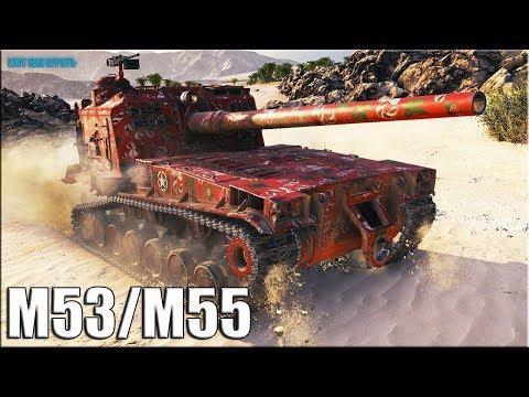 Затащил на СТОКОВОЙ АРТЕ ✅ World of Tanks M53/M55 лучший бой