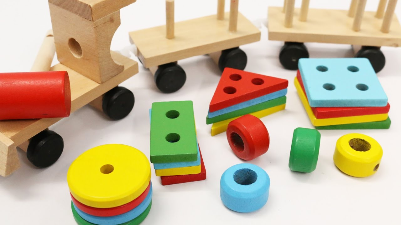 Learn Shapes Colors For Children With Wooden Train Toy