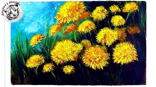 How To Paint with Acrylics Step by Step - How to Paint Dandelions with Acrylics