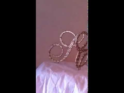 Crystal Celebration LLC complete coverage monogram cake topper