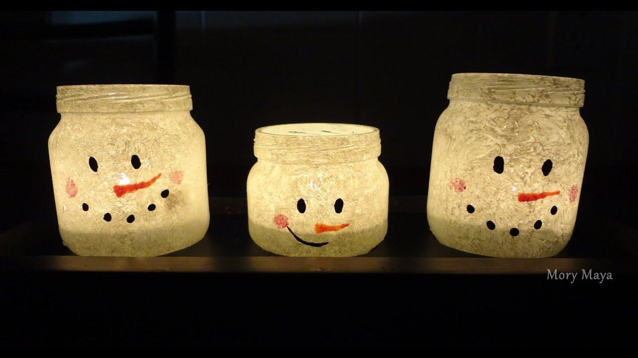 Como hacer porta velas mu eco de nieve diy decoraci n - Como hacer velas ...