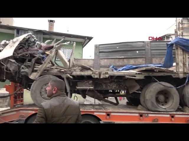 Freni patlayan kamyon eve girdi