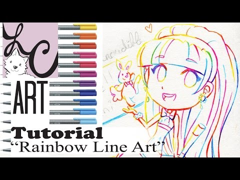 Lemi's Rainbow Line Art Tutorial (How to Ink, Mix Colors, and Pick Colors)