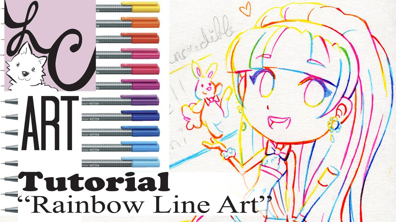 Line Art Tutorial : Lemi s rainbow line art tutorial how to ink mix colors