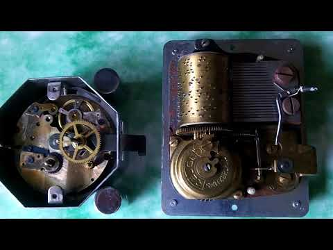 Antique Swiss Musical Alarm Clock Reuge Music Box Plays Alarm