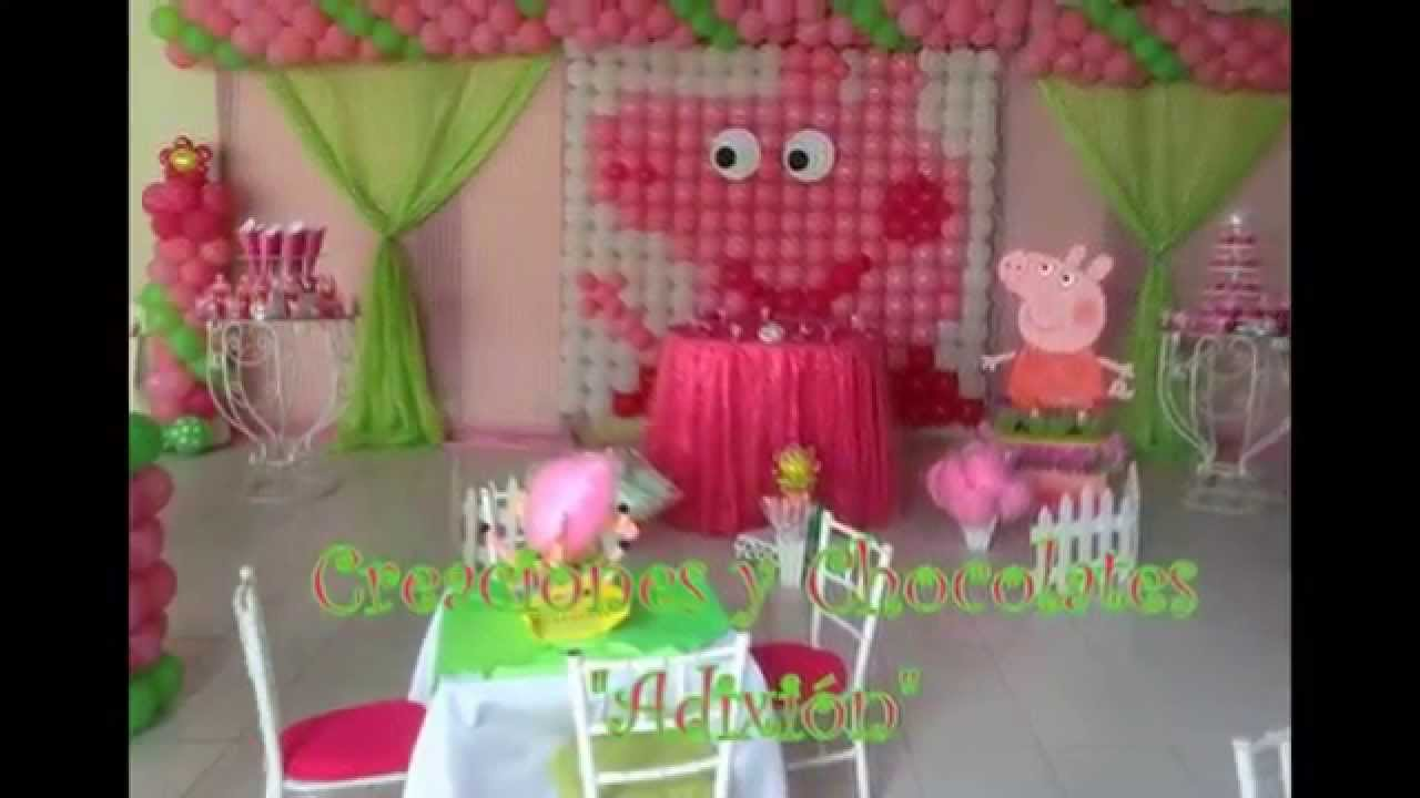 Decoraci n de cumplea os de peppa pig youtube for Decoracion de i