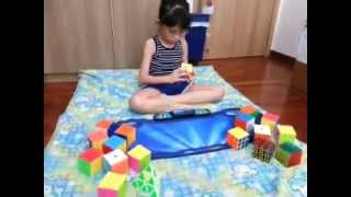 - - 7 years old Seraphina solve 3x3 in 35.73 sec (As of 11th July 2015)
