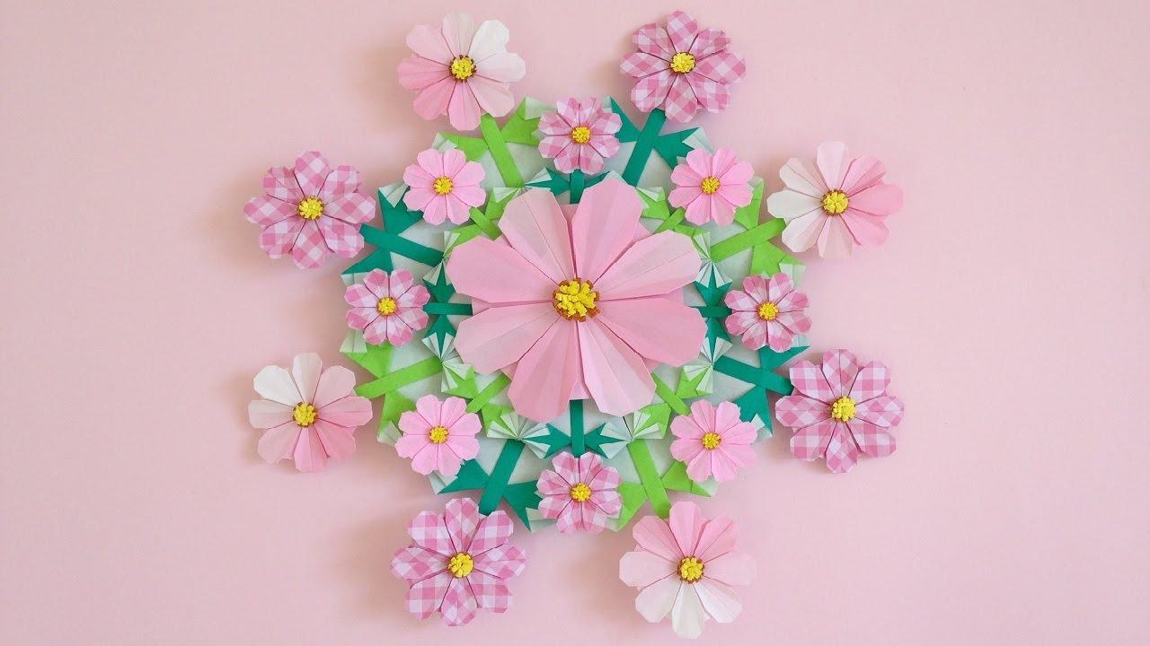 折り紙 コスモスの花 リース 折り方 2 Origami cosmos flower wreath tutorial(niceno1)