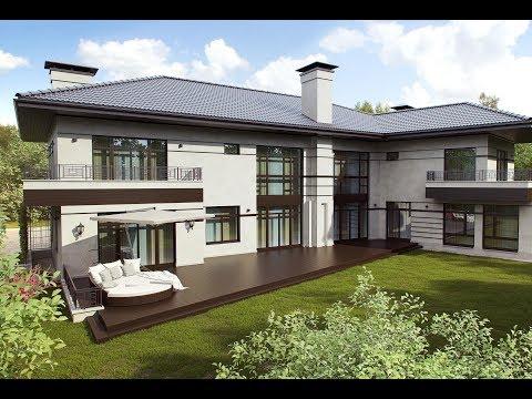 Проект дома с балконами и открытой террасой