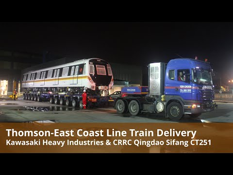 Thomson-East Coast Line Train Delivery at Mandai Depot