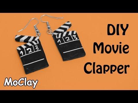 DIY Earrings Movie Clapper miniature - Polymer clay tutorial