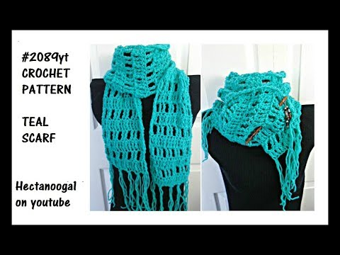 TEAL SCARF, Free Crochet Pattern, Beginner level, #2089