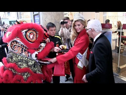 Miss France Camille Cerf celebrating Chinese New Year at Printemps Haussmann - Celebration