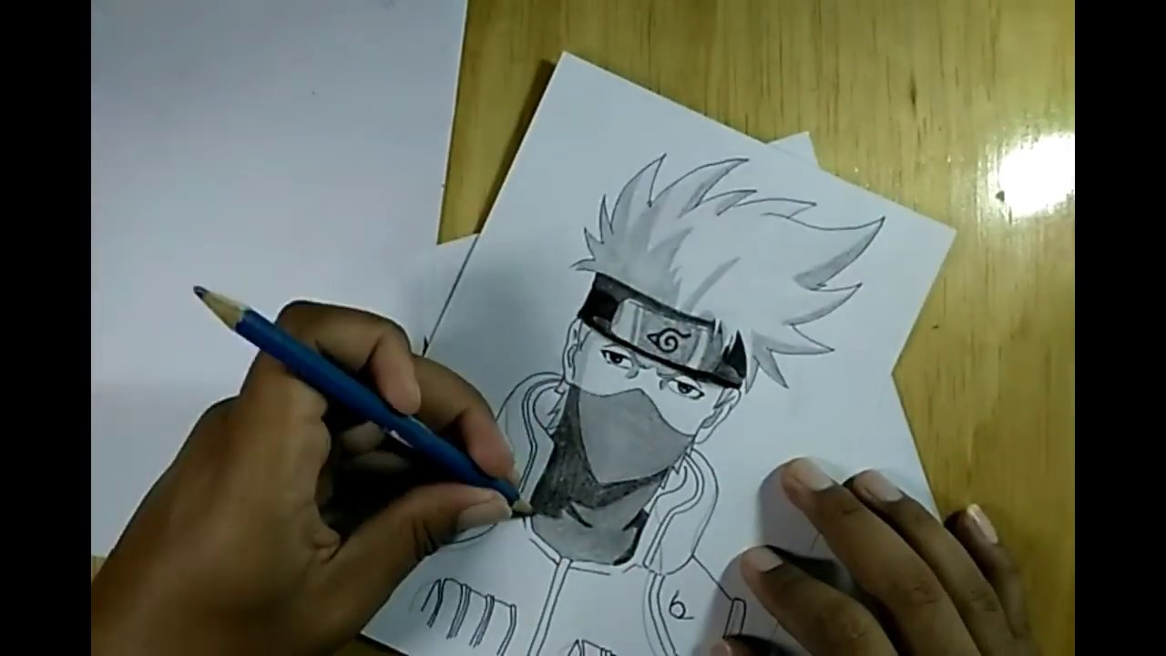 Naruto character speed drawing drawing kakashi anime manga using a pencil