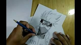 naruto character speed drawing , menggambar kakashi anime/manga menggunakan pensil