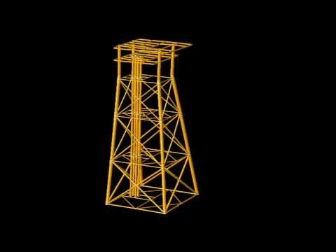 SACS Animation - Fixed Offshore Platform response to operating wave