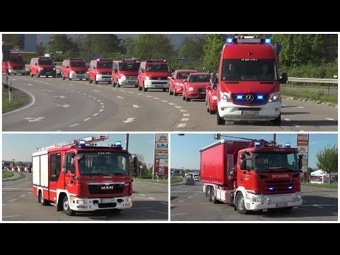 41 Feuerwehrfahrzeuge   Umzug Landesfeuerwehrschule Baden-Württemberg Bruchsal