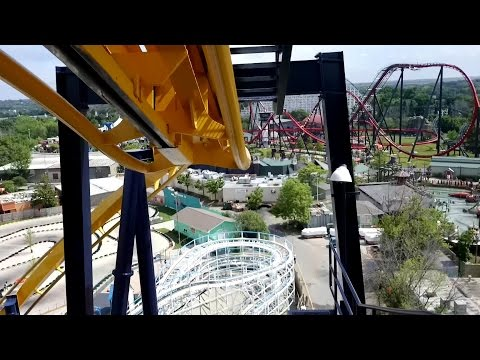 Batman The Ride Front Seat POV 2015 FULL HD Six Flags Great America