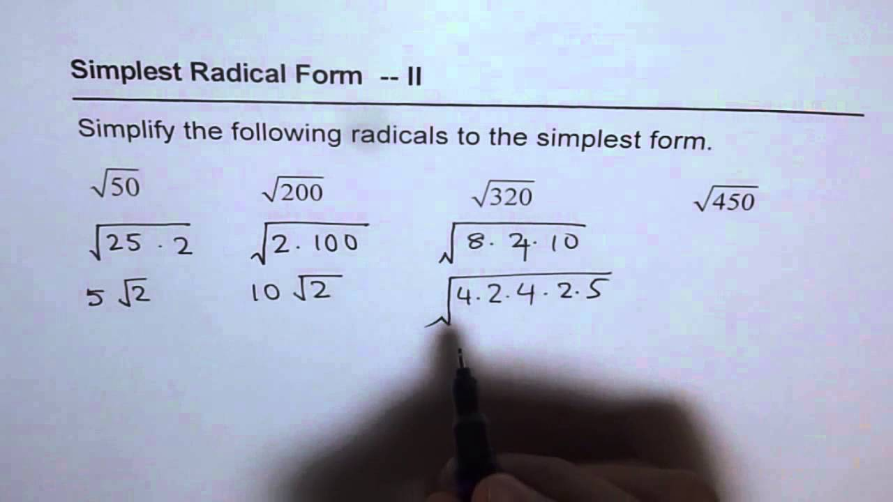 Simplify Radicals Worksheet 2 YouTube – Simplest Radical Form Worksheet
