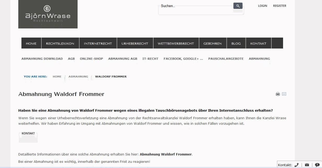 Abmahnung Waldorf Frommer Kanzlei Wrase Youtube