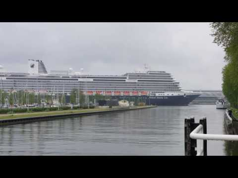"Holland America Line's ""Konigsdam"" leaving Amsterdam for the Noordzeekanaal"