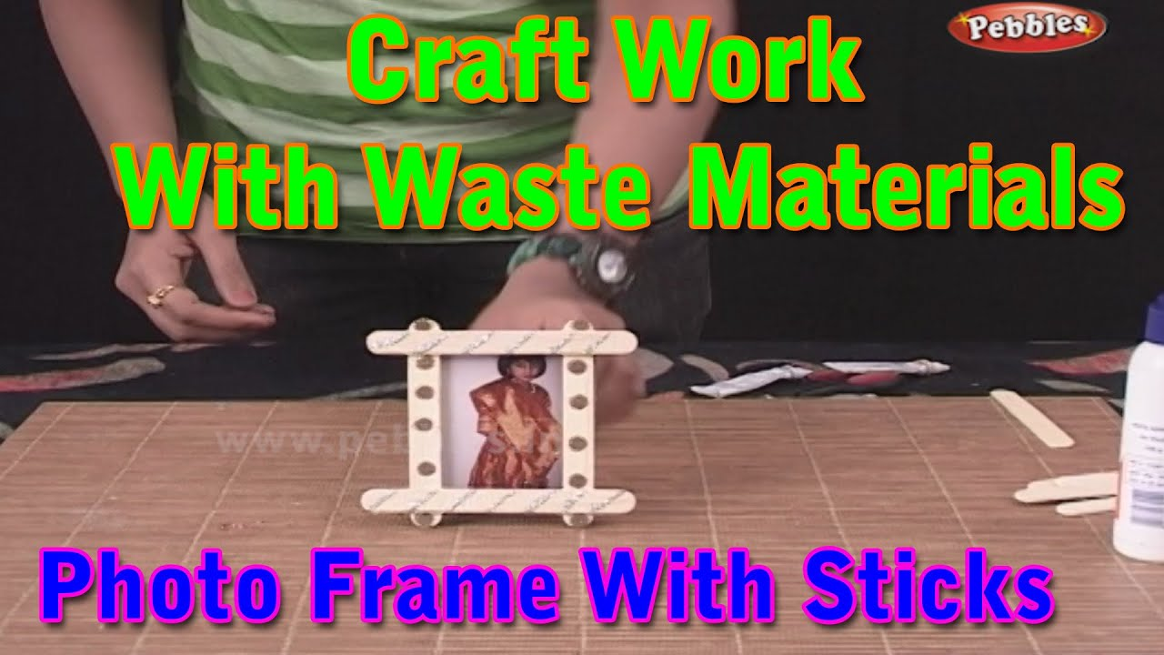 Photo frame craft work with waste materials learn for Waste material craft for kid