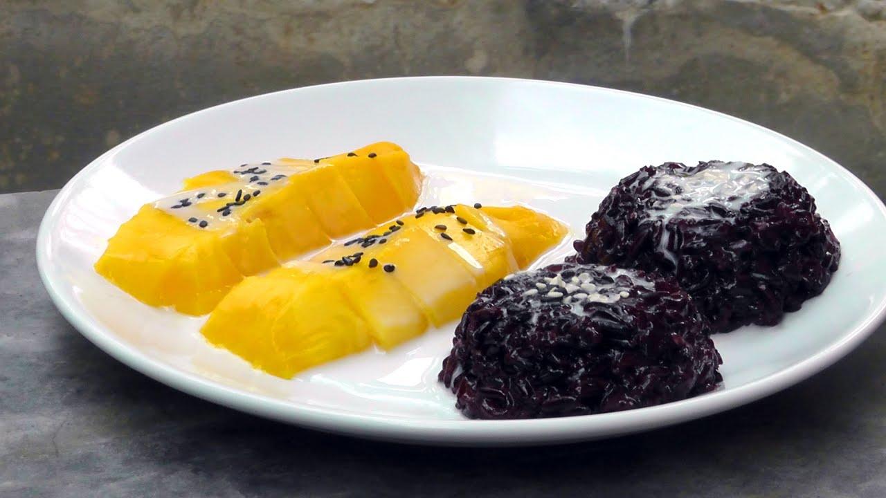 thai schwarzer klebreis mit mango vegan vegetarisches rezept youtube. Black Bedroom Furniture Sets. Home Design Ideas